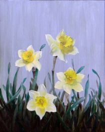 Mothers Day Daffodils 14 in x 11 in oil on panel by Clifton Hunt. Courtesy of the Artist